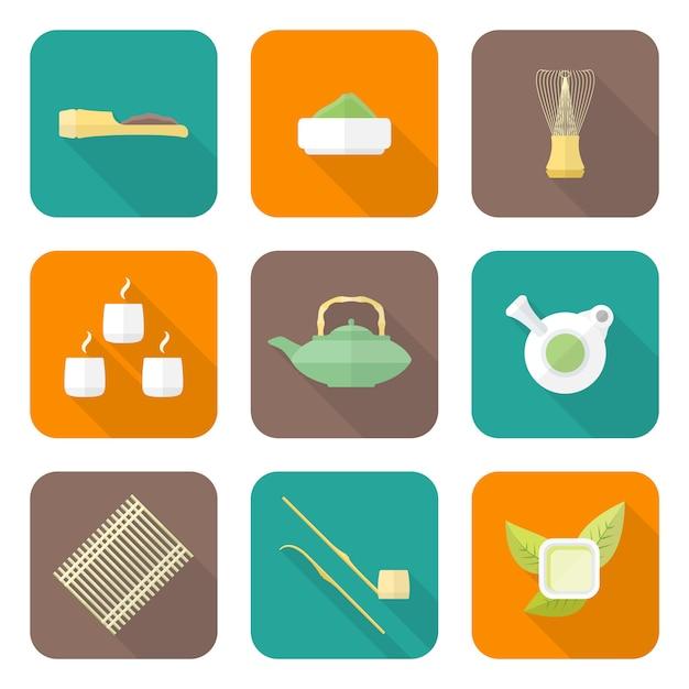 Gekleurde platte ontwerp japan theeceremonie apparatuur pictogrammen collectie tools set Premium Vector