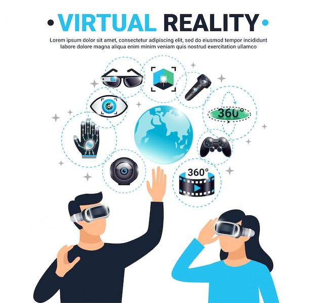 Gekleurde poster voor virtuele realiteit Gratis Vector