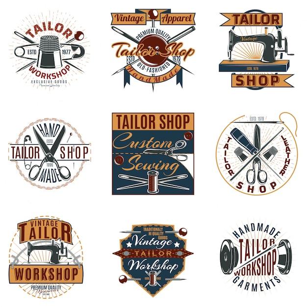 Gekleurde premium tailor shop-logo's instellen Gratis Vector