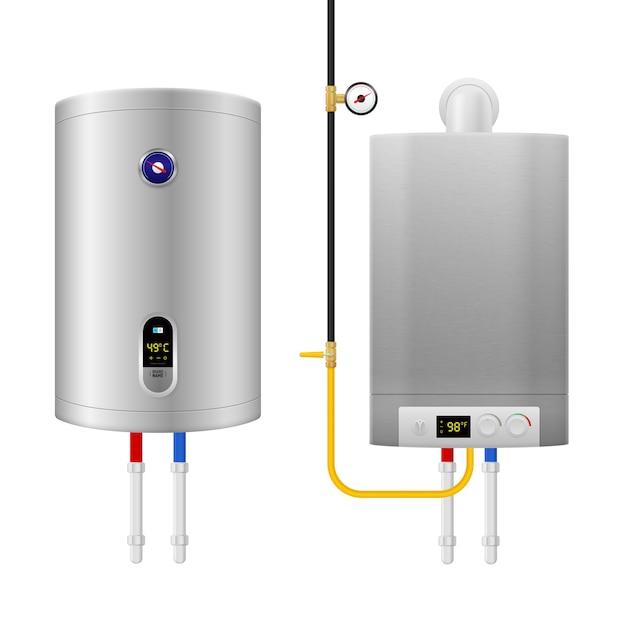 Gekleurde realistische boiler ketelsamenstelling met twee geïsoleerde en verschillende apparatuur en pijpen Gratis Vector