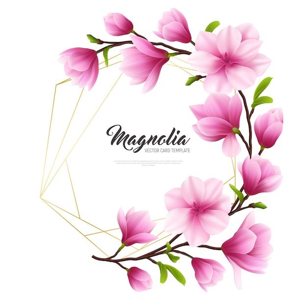 Gekleurde realistische magnolia bloem illustratie met gouden en roze samenstelling stijlvol en schoonheid Gratis Vector