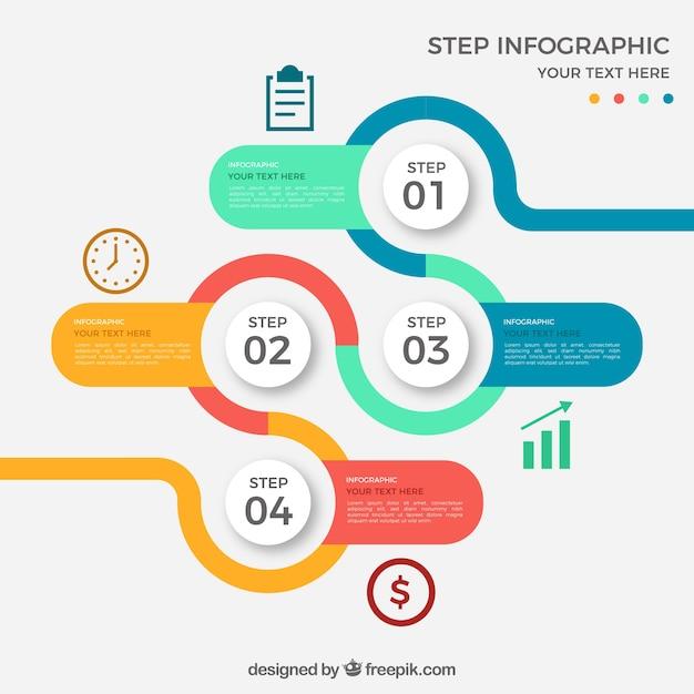 Gekleurde ronde infographic met vier stappen Gratis Vector