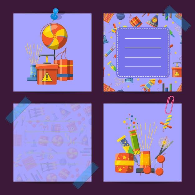 Gekleurde schattige notities van set met cartoon pyrotechniek illustratie Premium Vector
