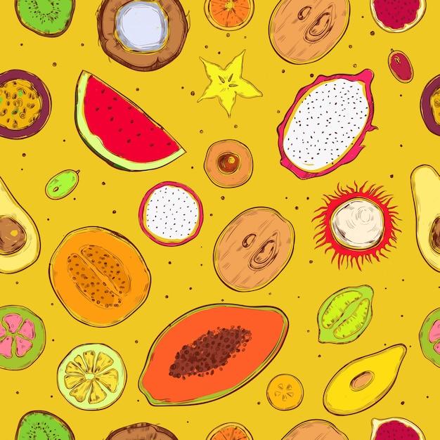 Gekleurde schets exotische producten naadloze patroon Gratis Vector