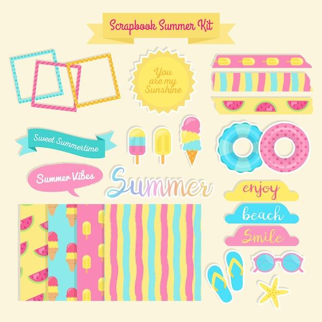 Gekleurde scrapbook zomer kit Gratis Vector