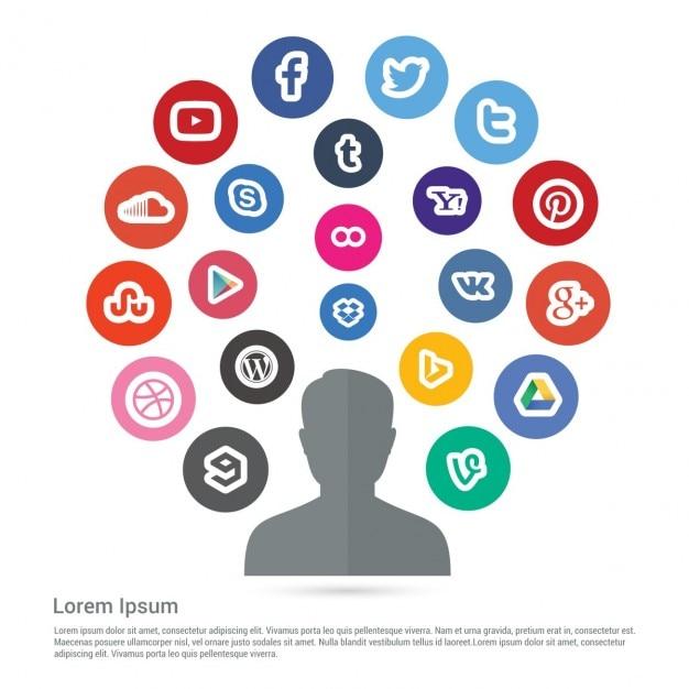 Gekleurde social media infographics Gratis Vector