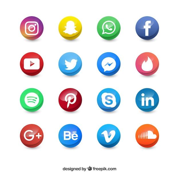 Gekleurde sociale media cirkel pictogrammen Gratis Vector