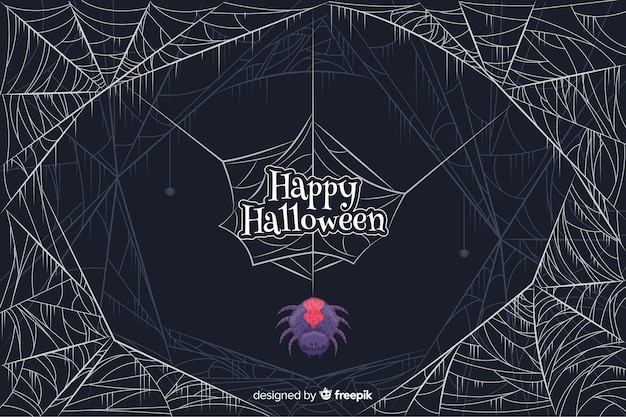 Gekleurde spin met spinnewebben halloween achtergrond Gratis Vector