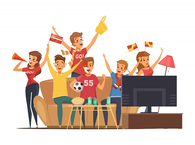 Gekleurde sportfans die tv op de mensen van de laagsamenstelling met vlaggen kijken maken omhoog Gratis Vector