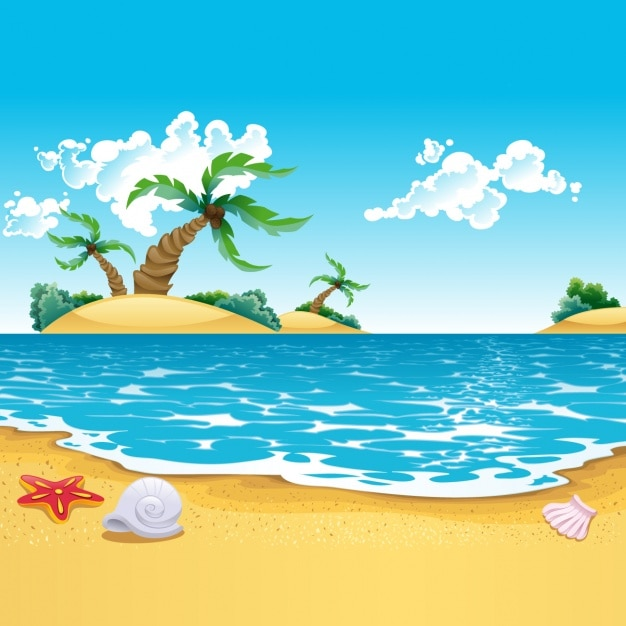 Gekleurde strand achtergrond Gratis Vector