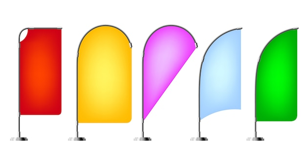 Gekleurde strandvlaggen Premium Vector