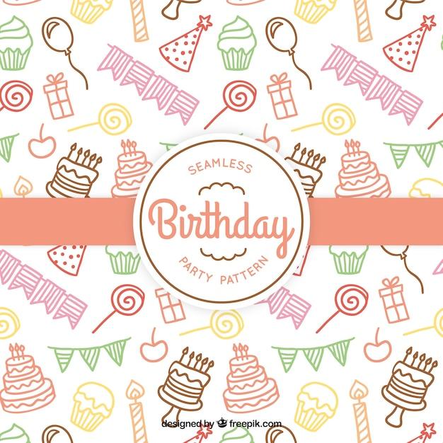 Gekleurde verjaardag patroon Gratis Vector
