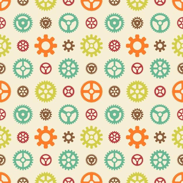 Gekleurde versnellingen naadloos patroon Premium Vector