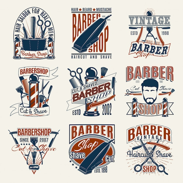 Gekleurde vintage barbershop-logo's set Gratis Vector