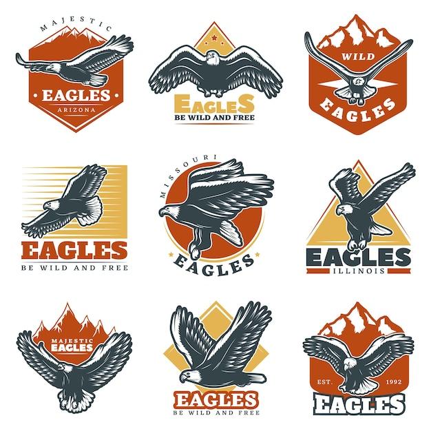 Gekleurde vintage mooie eagles labels set Gratis Vector