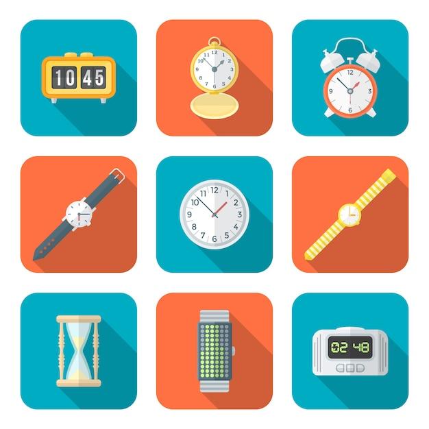 Gekleurde vlakke stijl verschillende horloges klokken pictogrammen instellen Premium Vector