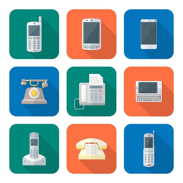 Gekleurde vlakke stijl verschillende telefoon apparaten pictogrammen instellen Premium Vector