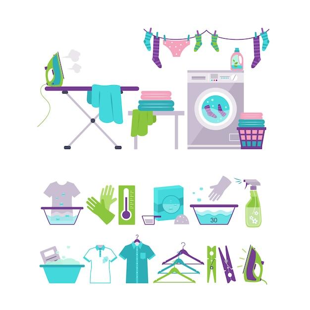 Gekleurde wassen en wasserij elementen in vlakke stijl illustratie set Premium Vector