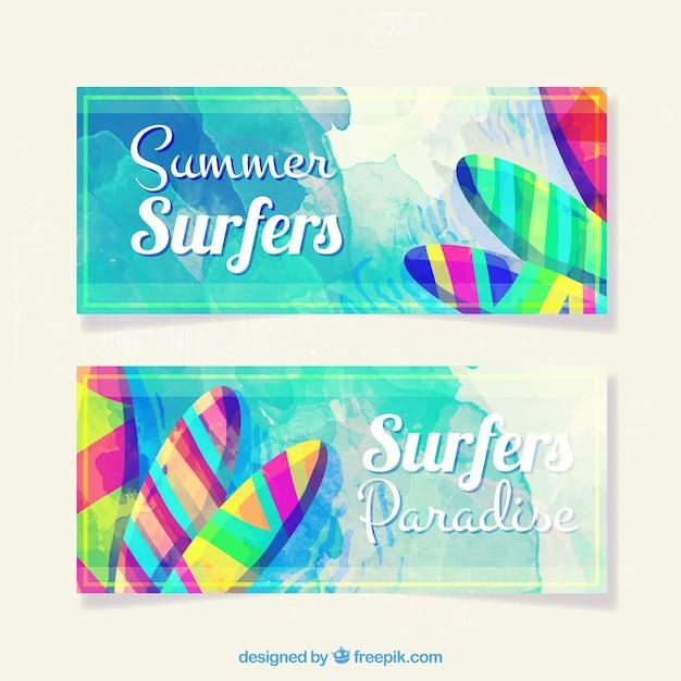Gekleurde zomer banners Gratis Vector