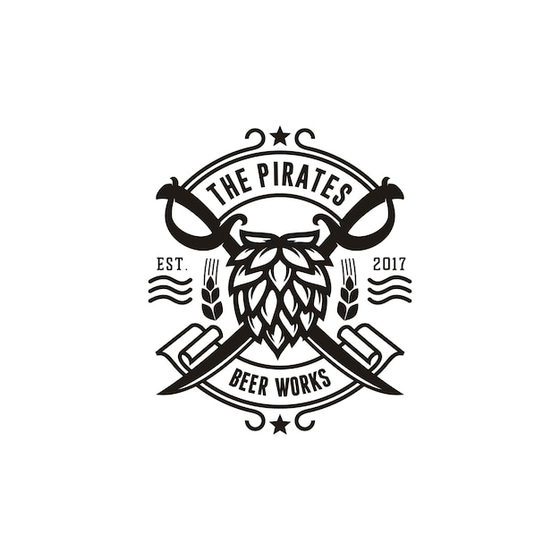Gekruist piratenzwaard met hop voor bierbrouwerij vintage embleemembleem Premium Vector