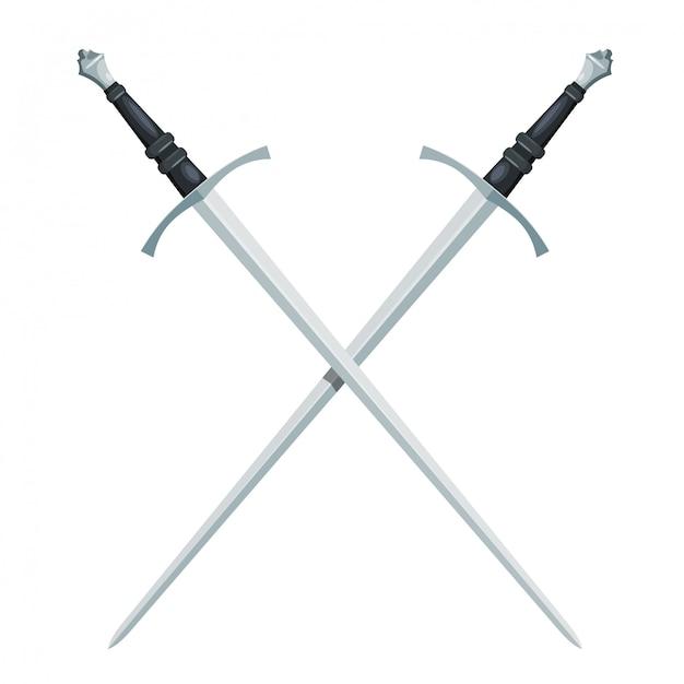Gekruist zwaard op wit Premium Vector