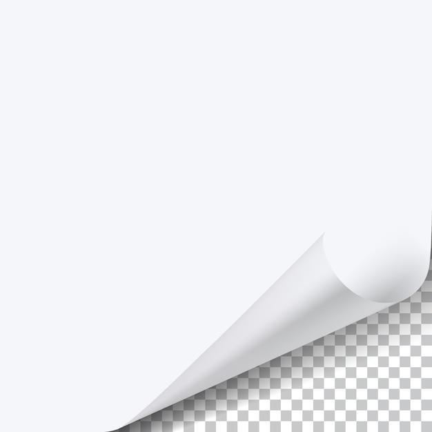 Gekruld hoekvel papier met schaduw op transparant Premium Vector