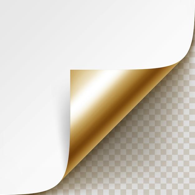 Gekrulde gouden hoek van wit papier met schaduw close-up geïsoleerd op transparante achtergrond Premium Vector