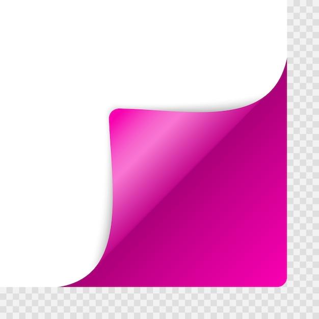 Gekrulde hoek van papier met schaduw Premium Vector