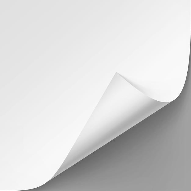 Gekrulde hoek van wit papier Premium Vector