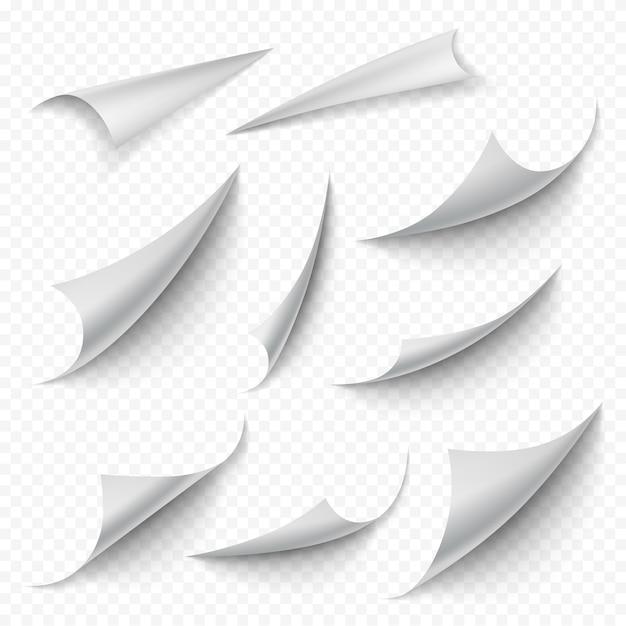 Gekrulde hoeken. blanco boek lege gebogen pagina's vouwen peeling draai bladranden realistische collectie. maak een lege pagina wit, het krulblad is leeg Premium Vector