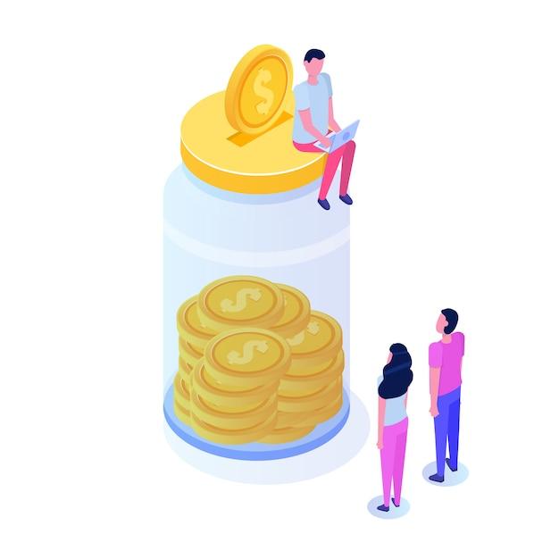 Geld besparen, dollar munt in pot, isometrische concept van de financiële groei van het succes met stapels van gouden munten. illustratie Premium Vector