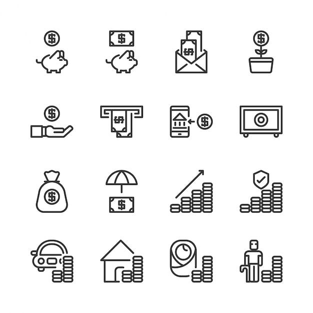 Geld besparen en investeringen icon set Premium Vector
