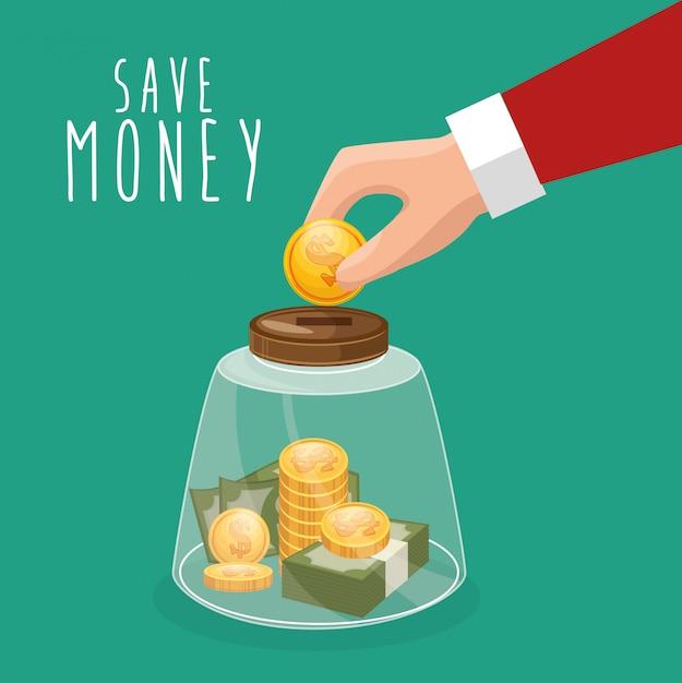 Geld besparen met de hand zetten muntglas zetten Gratis Vector