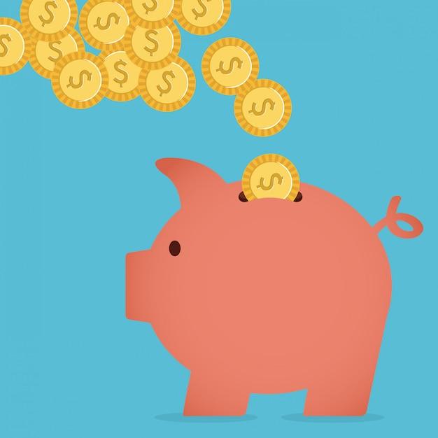 Geld besparen Premium Vector