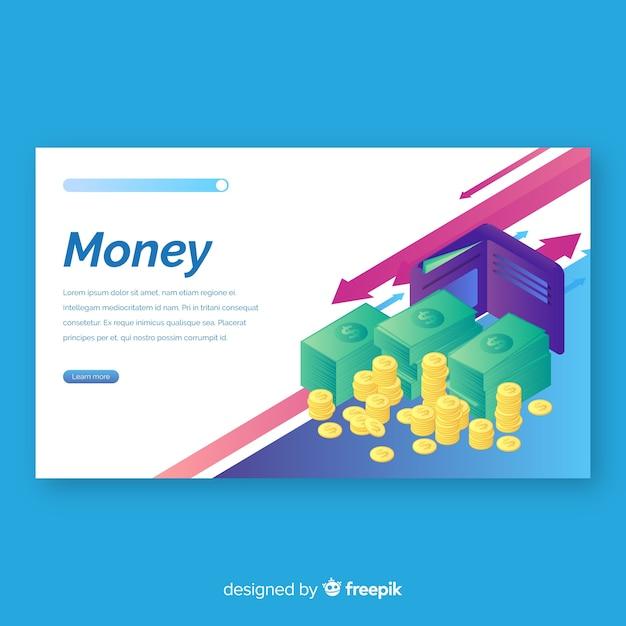 Geld-bestemmingspagina Gratis Vector