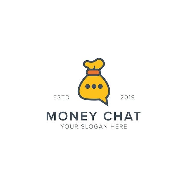 Geld chat-logo Premium Vector