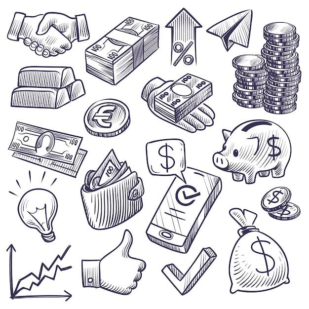 Geld en bankwezen schets illustratie Premium Vector