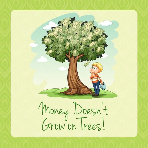 Geld groeit niet op bomen Gratis Vector