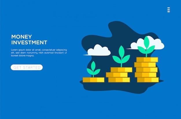 Geld investeringen vlakke afbeelding Premium Vector