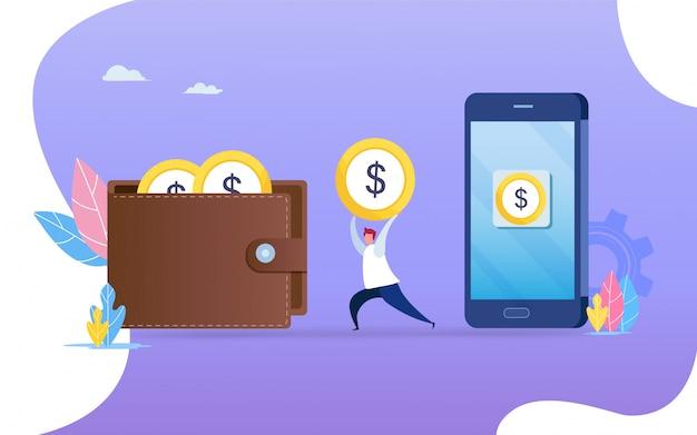 Geld overzetten van smartphone naar portemonnee. Premium Vector