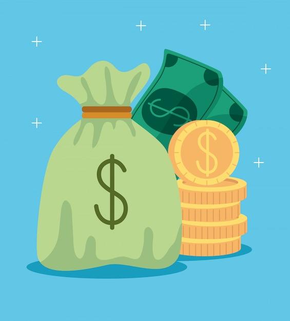 Geld tas met stapel munten en biljetten contant Gratis Vector