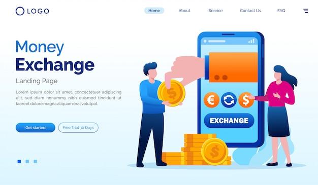 Geld uitwisseling bestemmingspagina website illustratie vector sjabloon Premium Vector