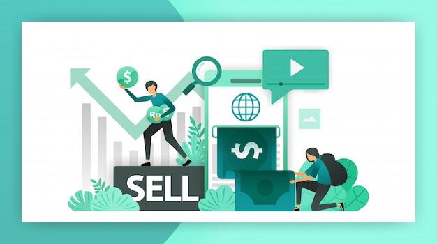 Geld verdienen online Premium Vector