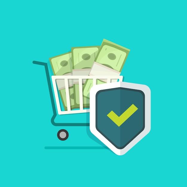 Geld winkelen online verzekering bescherming schild Premium Vector