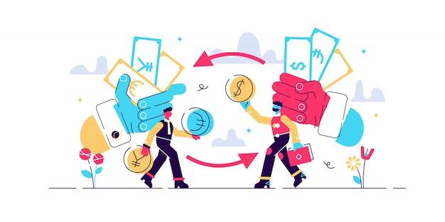 Geld wisselen illustratie. plat kleine financiële valuta personen concept. economisch proces om euro, dollar, pond of yen te verhandelen. abstracte globale verschillende transactiecyclus van de bankbiljettentransactie. Premium Vector