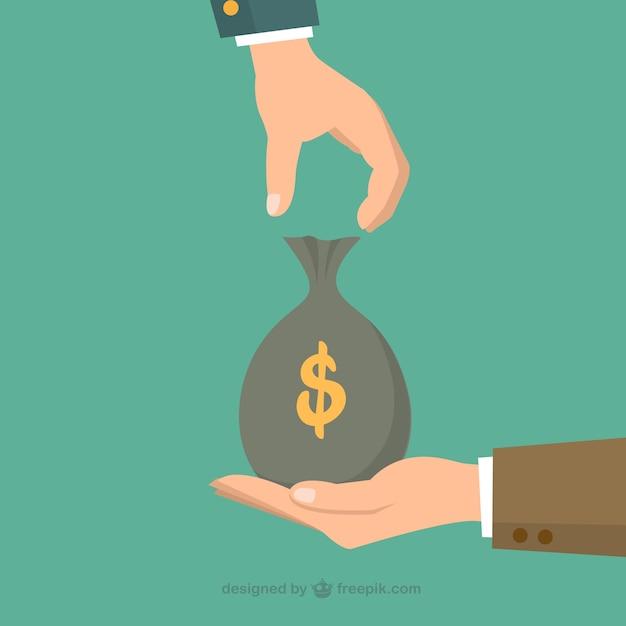 Geld zak uitwisseling Gratis Vector