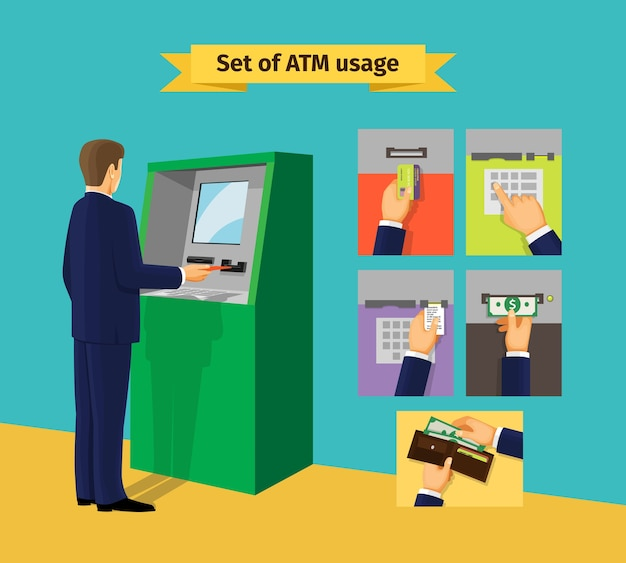 Geldautomaat. betalingen en ontvang geld. vector illustratie Gratis Vector