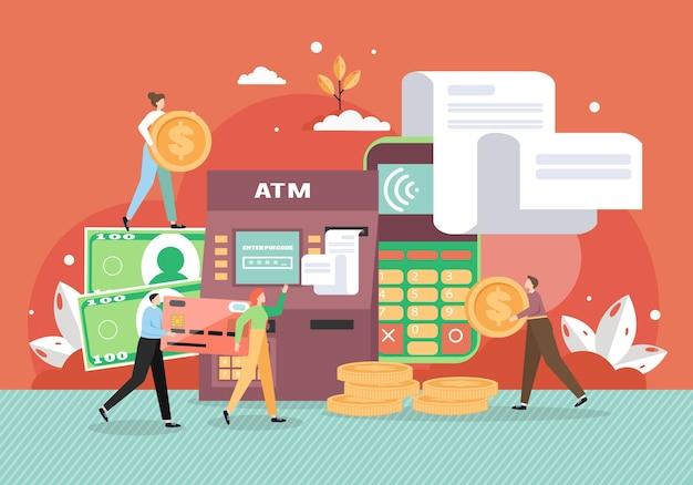 Geldautomaat en mobiele telefoon met facturen. Premium Vector