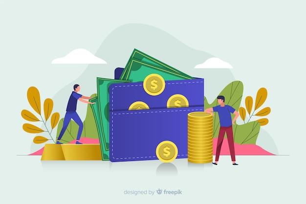 Geldbesparende concept Gratis Vector