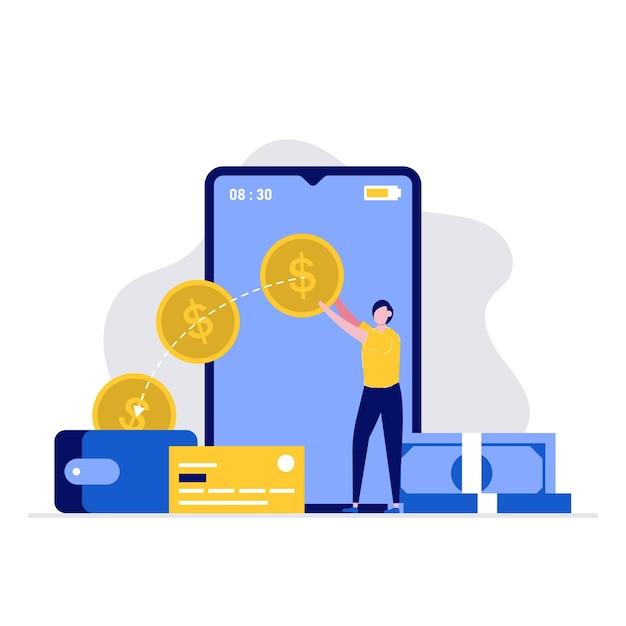 Geldoverdracht en betaling illustratie concept met mensen karakter verzenden en ontvangen van geld door smartphone. Premium Vector